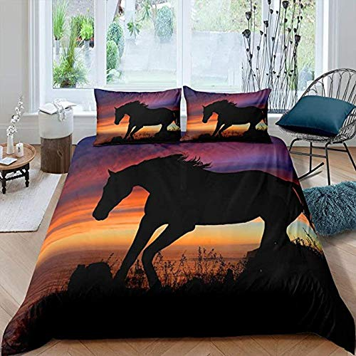 HUA JIE Comforter Set For Queen Size Bed,Horse Comforter Cover Full Boys Kids Wild Animal Printed Bedding Set Cowboys Rustic Stuff Adult Women Girls Quilt Sunset Bedspread With Zipper Ties