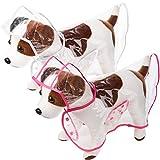 2 Pieces Pet Dog Raincoat Pet Waterproof Clothes Hooded Rain Jacket Transparent Puppy Rain Poncho Pet Rainwear for Small Medium Dog (Rosy and White,S)
