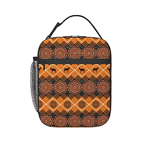 Traditional African Cultural Patterns Lunch Box, Thermal Insulation and Cold Preservation Lunch Bag, Reusable Lunch Containers. Wear-resistant Bento box