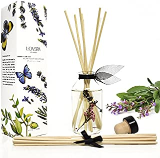 LOVSPA Lavender & Clary Sage Aromatherapy Essential Oil Reed Diffuser Oil Gift Set - Premium Reed Sticks for Long-Lasting Fragrance Diffusion - Thoughtful Gift for Mom, Grandma, Aunt or Wife