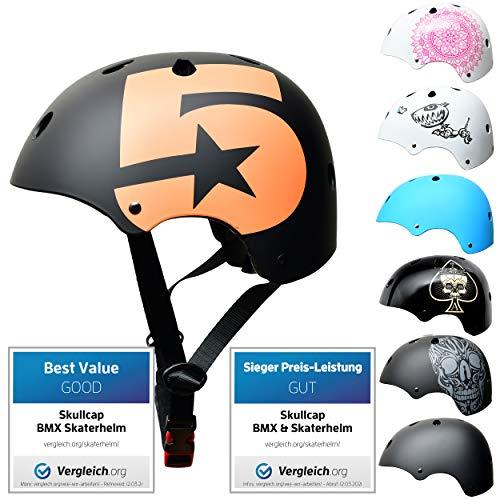 SkullCap BMX & Casco per Skater Casco - Bicicletta & Monopattino Elettrico, Design: No. 5, Taglia: 53-55 cm