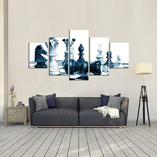 VTNIKM Cuadro En Lienzo Decoracion Dormitorios Pintura De La Lona Sofá Mural De Fondo 5 Piezas Ajedrez Arte De La Pared Imagen Salon Oficina Decoracion del Hogar 200X100Cm