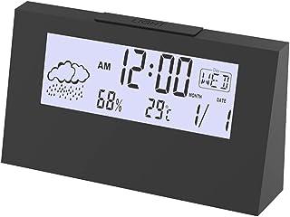 P1 Tools Weather LCD Alarm Clock CalendarDesktop Clock with Temperature and Calendar - Perfect for Bedroom/Office/School, ...