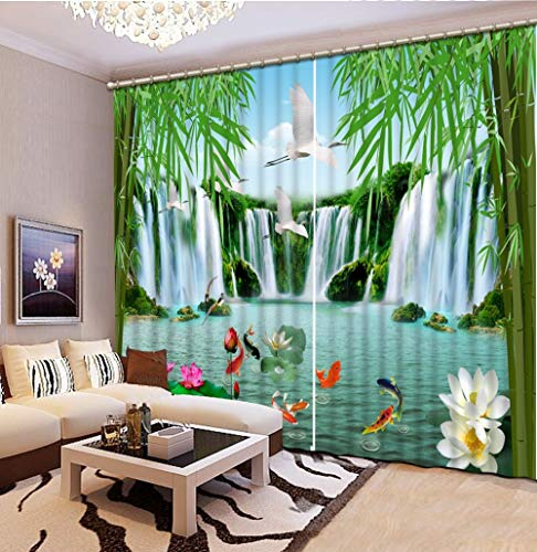 KUKUALE Multiple Size 2 Tablets Chinese Photo Printing Waterfall Landscape 3D Blackout Curtains Window Curtain Living Room Bamboo Decor Door Window Wall Cover2