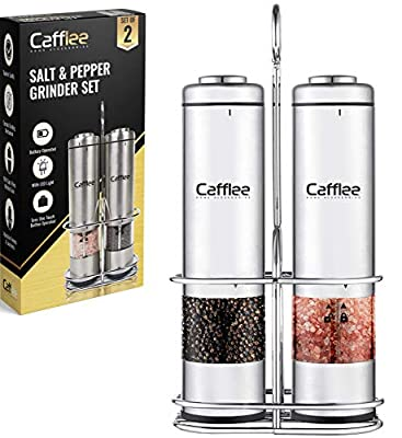 Electric Salt and Pepper Grinder Set | Battery Operated Stainless Steel Salt and Pepper Mills with Sturdy Storage Display Stand | Unique Kitchen Tool Set Comes in a Beautiful Boutique-Style Gift Box