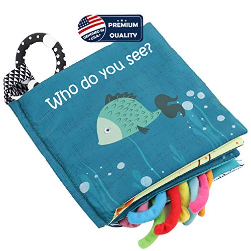 Read About Fish Soft Cloth Book, Shark Tails Soft Activity Crinkle Baby Books Toys for Early Educati...
