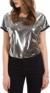 Women Metallic Silver T Shirt Short Sleeve Glitter Tanks Blouse Tee for Rave Casual Party Clubwear