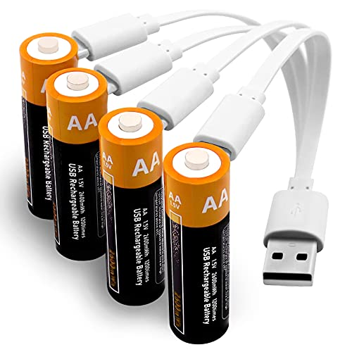 Rechargeable Batteries AA Uzone 2600mWh AA Recharge Battery with USB Charger, 4-in-1 USB Type C Charging Cable, 1.5V Lithium Ion AA Battery Over 1200 Cycles, Storage Cases, Pack of 4