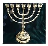 Made in Italy Ebraico 7 Armiger Kerzenleuchter Hebräisch 100% Messing Jüdische Menora 22 cm Chanukkia Menora siebenarmiger Leuchter