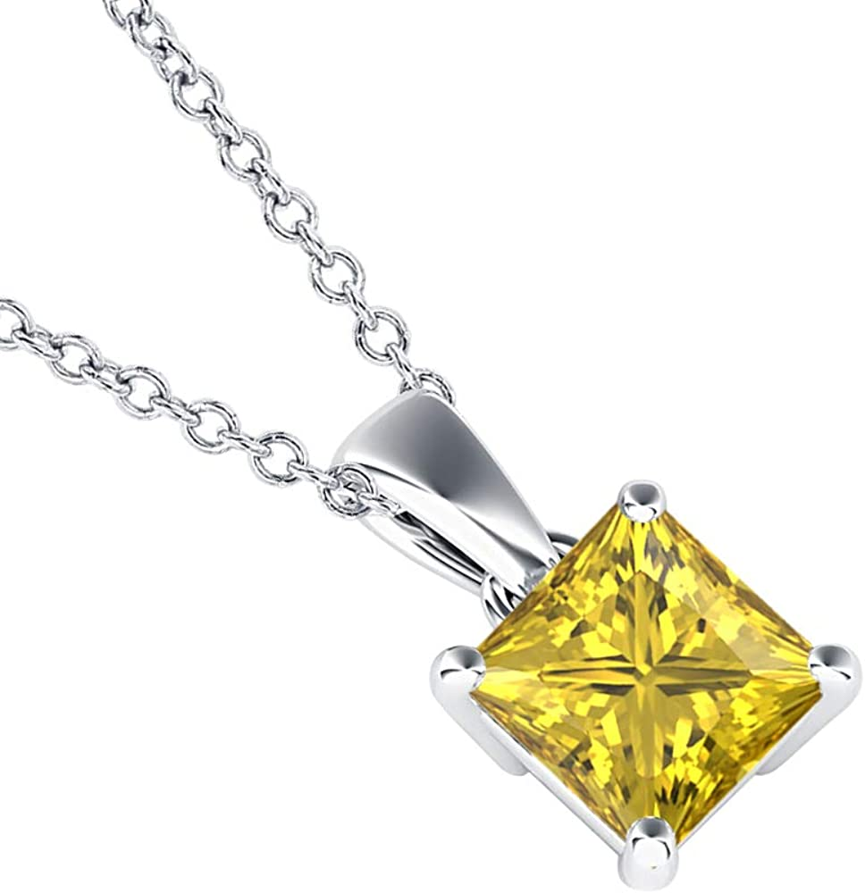 dazzlingjewelrycollection 5mm to 10mm 14k Gold Over.925 Sterling Silver Yellow Sapphire Solitaire with Princess Shaped Pendant Necklace Valentines Day for Womens