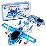 Yojoloin Juguetes de deformación Avión Juguete Coche de Juguete Avión Juguetes de deformación automática Con Luces y Música Avión de Juguete Giratorio de 360 ° Azul Juguetes divertidos para niños