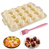 20 Cavity Silikon Gelee Form Cannele Form, Mini Muffin Dose, Silikon Backform Muffin Hüllen Cupcake Form Backetui für 20 Canelés, Antihaft Kuchen Eis Eis Pudding Form + Pinsel