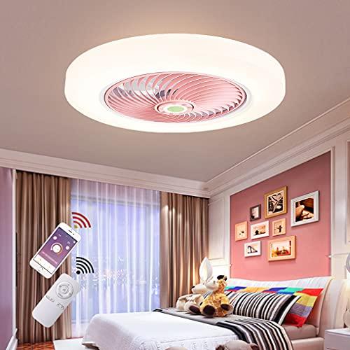 LANMOU LED Lámparas Ventilador de Techo Dormitorio con Mando Distancia, Moderno Ventilador Luz de Techo Regulable con 3 Temperatura de Color, 3 Velocidades y Temporizador Fan Silencioso, Ø52cm,Rosado