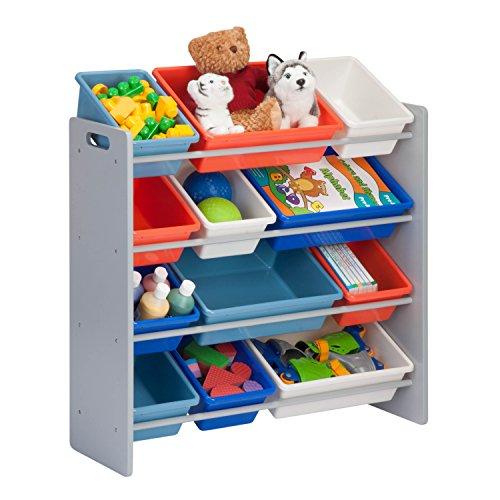 Honey-Can-Do SRT-06475 Kids Toy Organizer and Storage Bins, Gray