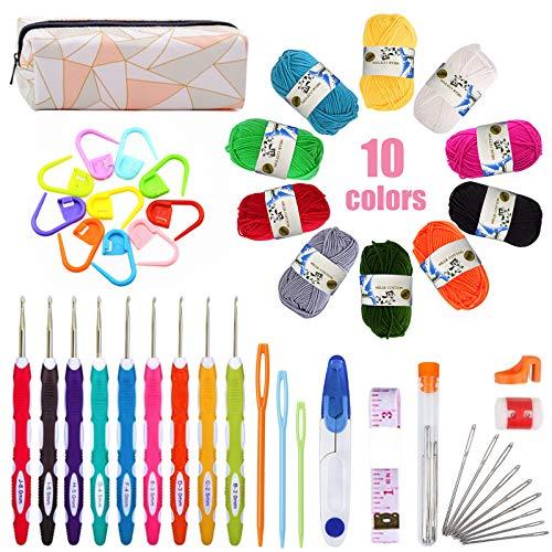 TWBEST Kit de Ganchillos,Agujas de Ganchillo con 10 ovillos de hilo de algodón y 1 bolsita de crochet,Se utiliza para bufandas,chales,muñecas y otros tejidos de punto para bebés y niños