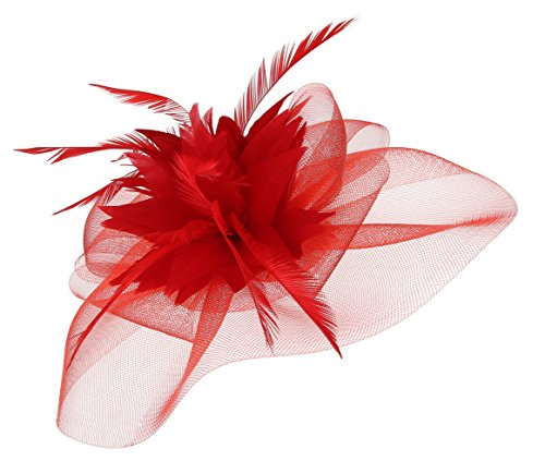EOZY Mujer Tocado de Pelo para Boda Fiesta Sombrero Gasa Pluma Elegante Rojo