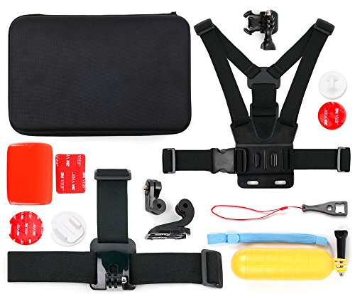 DURAGADGET Action Camera 14-in-1 Extreme Sports Essential Accessories Bundle with Hard EVA Case - Compatible with The BUIEJDOG Ultra Full HD WiFi Action Camera 170 °