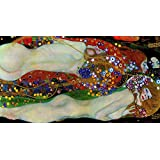 絵画風 壁紙ポスター (はがせるシール式) グスタフ・クリムト 水蛇 II 1907年 Water Snakes II プライベートコレクション キャラクロ K-KLT-010SB2 (603mm×328mm) 建築用壁紙+耐候性塗料