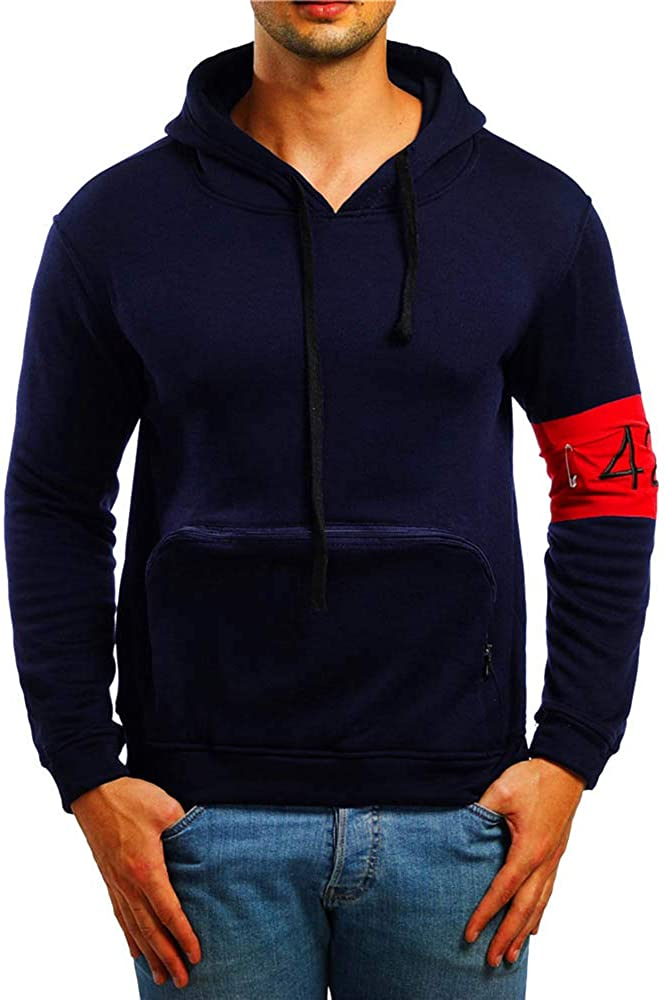 baskuwish Men's Adult Pullover Hooded Sweatshirt-Men's Long Sleeve Logo Hooded Sweatshirt (Regular and Big & Tall Sizes)