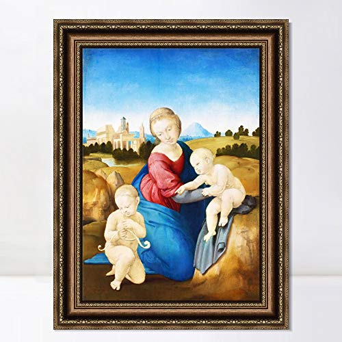 "INVIN ART Framed Canvas Art Giclee Print Madonna Esterhazy by Raphael/Raffaello Sanzio Wall Art Living Room Home Office Decorations(Vintage Embossed Gold Frame,20""x28"")"