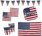 Boland 10203217B – Juego de Fiesta de Estados Unidos, Bandera, Platos, Vasos, servilletas, cumpleaños Infantiles, vajilla desechable, decoración