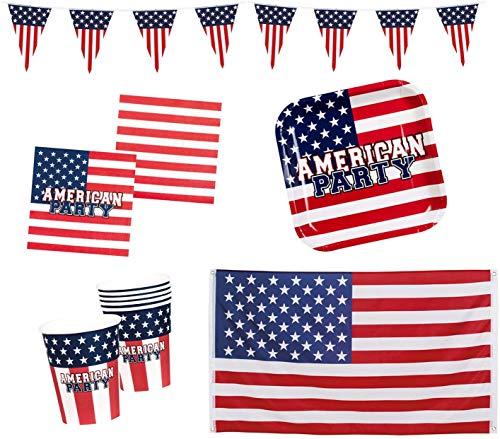 Boland 10203217B – Kit de fête américaine, bannière, Drapeau, Assiettes, gobelets, Serviettes, Anniversaires d'enfants, Vaisselle jetable pour la décoration, 10203217