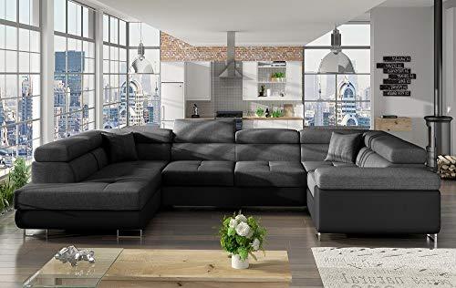 Don Baraton anticrisis.net Sofá en U Moderno (2 chaiselongs) con Cama y arcón – Coventry (Gris Oscuro/Negro, Esquina Lado Derecho)