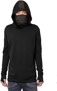 Men's Kusari Hoodie Japanese Turtle Neck Gaiter Urban Printed Pullover Outwear