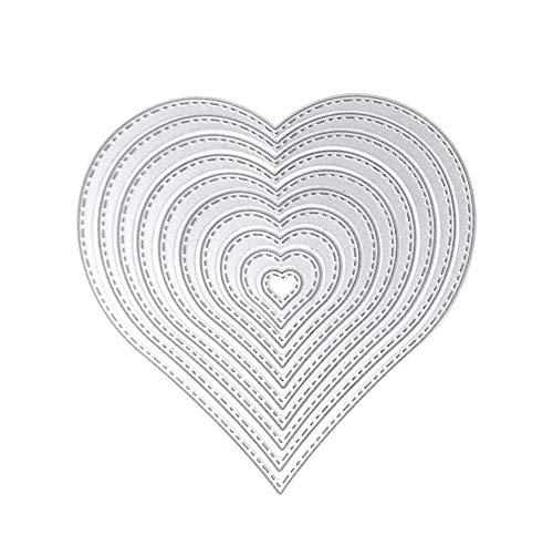 Stanzschablone Herz, U-horizon 10pcs LOVE Heart Cutting Dies Metall Schablonen Papierbasteln für DIY Scrapbooking, Fotoalbum Dekoration, Karte, Papier, Geschenk