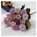 WXL 1 paquete de flores artificiales europeas pequeñas claveles de clavo, flores artificiales al por mayor para fotografía del hogar, decoración suave hecha a mano (color: 4)