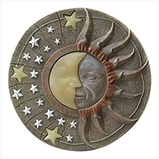 Circular Moon & Sun Celestial Glow in the Dark Stepping Stone Garden Art by Wholesale Supermart