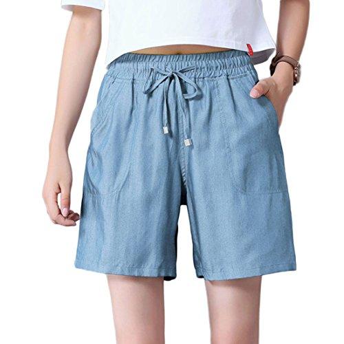 CHARTOU Women's Stylish Drawstring Elastic Waist Lightweight Tencel Bermuda Denim Shorts Jeans (Blue, Small)
