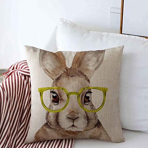 Throw Pillow Covers Hipster Pink Nursery Watercolor Rabbit Easter Bunny Glasses Face Cute Design Sketch Cushion Square Case Cotton Linen for Winter Home Decor 18' x 18'