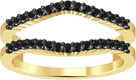 Silvernshine Jewels Double Shared Prong Curved Ring Guard CZ Diamonds 14K Yellow Gold Plated .925 Silver