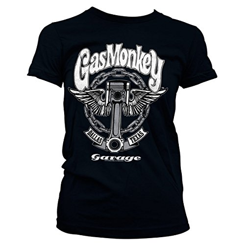 Gas Monkey Garage Oficialmente Licenciado Big Piston Mujer Camiseta (Negro), Medium