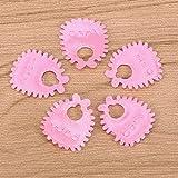 YeahiBaby Konfetti Stoff Baby Schnuller Füße Lätzchen Form Tisch Streu Konfetti Baby Dusch Geburtstag Party Deko 400 Stück (Rosa) - 2