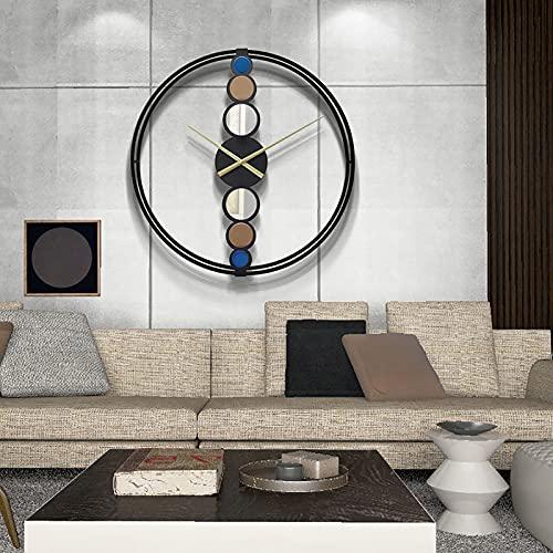 WANGFENG Reloj de Pared nórdico Creativo con Arte de Hierro, Reloj Simple para Sala de Estar, Reloj de Lujo con luz