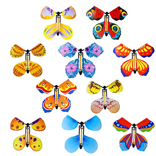 Hazms 10 Pieces Magic Flying Butterfly Card Surprise Box, Magic Fairy Wind Up Butterflies for Cards Band Powered Butterfly Toy Colorful Butterfly in Book Greeting Card for Wedding Party