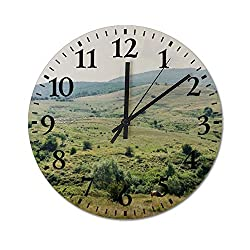 Lutd23apir 12 Inch Wall Clock Silent Non Ticking Operated Round Easy to Read Home/Office/Classroom/School Clock-Romanian Nature with Horse and Flock of Sheep