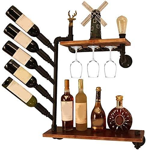 LYLSXY Estanterías de Vino, Estante de Vino Retro Doble Hierro Rack Rack Vidrio Rack Al Revés Creativo Taza Soporte Europeo de Alenamiento de Pared