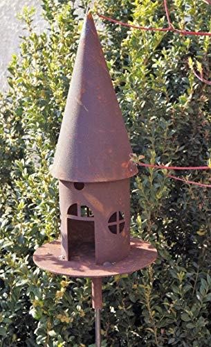 Edelrost Vogelhaus für Stab rund schmal 43cm, inkl. Herz 8x6cm Garten Deko Futterstation