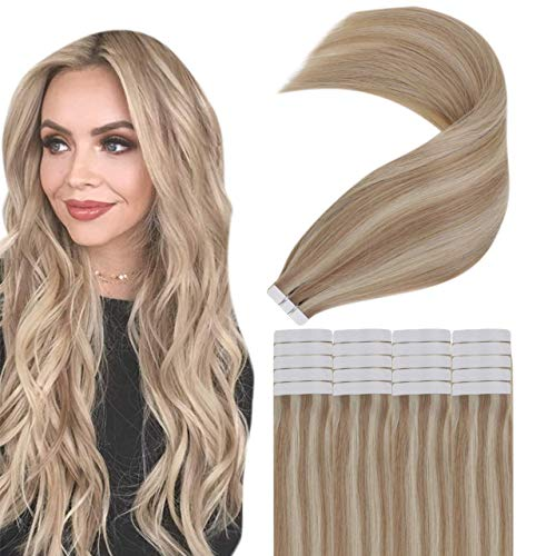 Easyouth Adhesive Cheveux Naturel Tape Hair Extensions Couleur Ash Blonde Highlight with Light Blonde Skin Weft Adhesif Extensions 12pouces 30cm 20Pcs