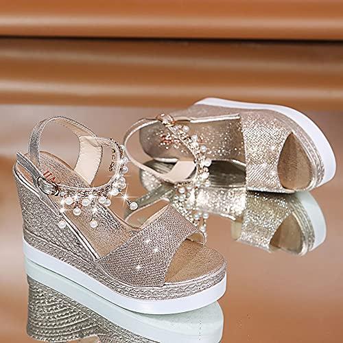 Damen Keilabsatz Sandalen, Sommer Plattform Strass Perle Knöchelriemen Sandalen, Frauen Sandaletten Keilabsatz,Oro,EU37