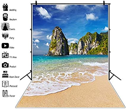 OFILA Tropical Island Backdrop 10x12ft Kids Summer Holidays Party Decoration Seaside Birthday Caribbean Coast Shoots Paradise Island Traveled Party Nature Landscape Shoots Props