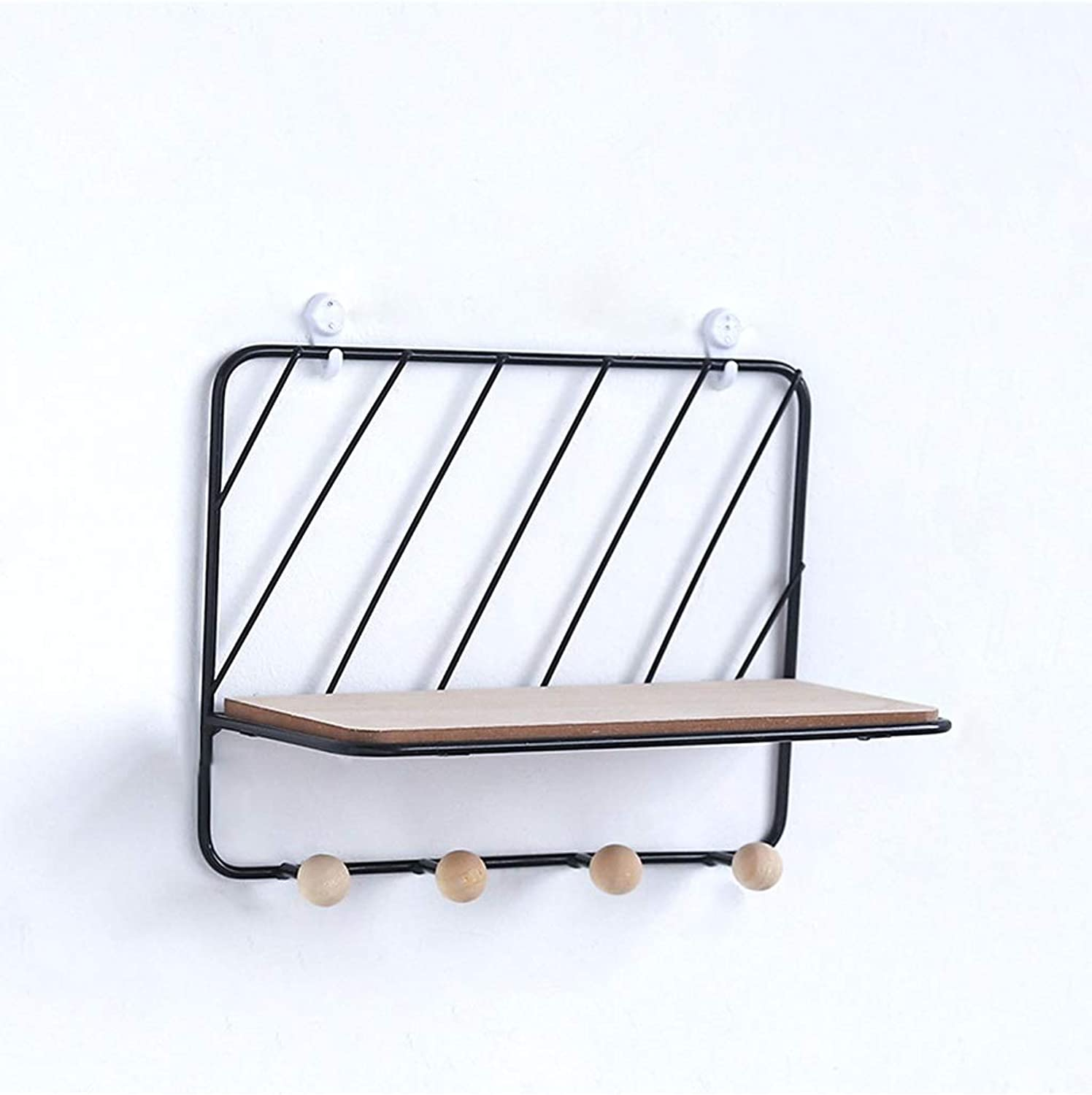 Entrance Storage Rack Wrought Iron Twill Grid Rack with 4 Hooks European Style Living Room Bedroom Wall Hook Decoration Wall Hanger (color   Black)