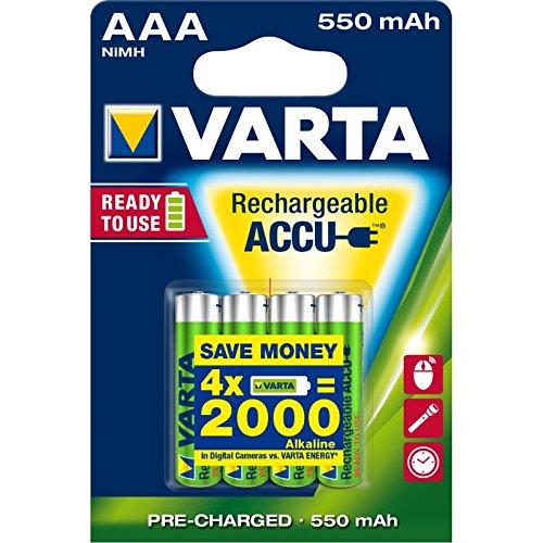 Varta Ready2Use HR03 4pcs Nickel Metall-Hydrid 550mAh Wiederaufladbare Batterie - Wiederaufladbare Batterien (550 mAh, Nickel-Metallhydrid (NiMH), AAA, 4 Stück(e))