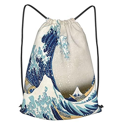 AndrewTop Bolsa Cuerdas con cordón impermeable Unisex,La ola japonesa Hokusai pintando bajo una ola frente a Kanagawa,LigeroCasual ,Deporte Gimnasio Mochilas