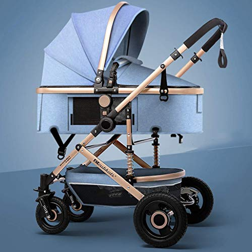 SGSG Leichter Faltbarer Kinderwagen mit Regenschutz, 3-in-1-Kinderwagen in hoher Landschaft, Zweiwege-Kinderwagen für Neugeborene und Kleinkinder, Gummiräder, komfortabler und großer Raum