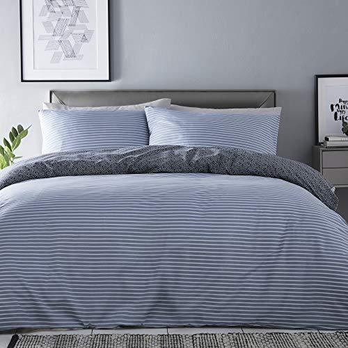 Silentnight Shirt Stripe Duvet Cover and Pillowcase Pair Bedding Set, Denim Blue, King