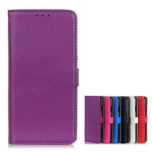 Brieftasche Schutzhülle für Wiko Y81 Hülle mit Kartenfach Etui Standfunktion & Magnetisch Handyhülle Leder Flip Lederhülle für Wiko Y81 (Lila)